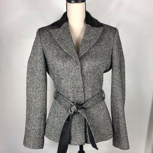 BGN Faux Fur Collar 87% Wool Tweed Jacket